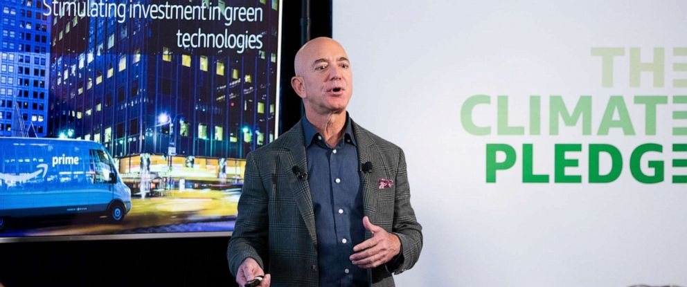 PHOTO: Founder and CEO of Amazon Jeff Bezos participates in the unveiling of an Amazon environmental initiative entitled The Climate Pledge, in Washington, D.C., Sept. 19, 2019.