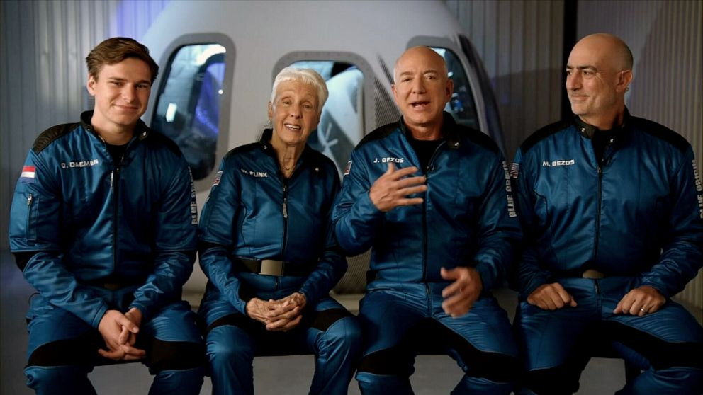 Jeff Bezos and his crew land safely after an epic space flight