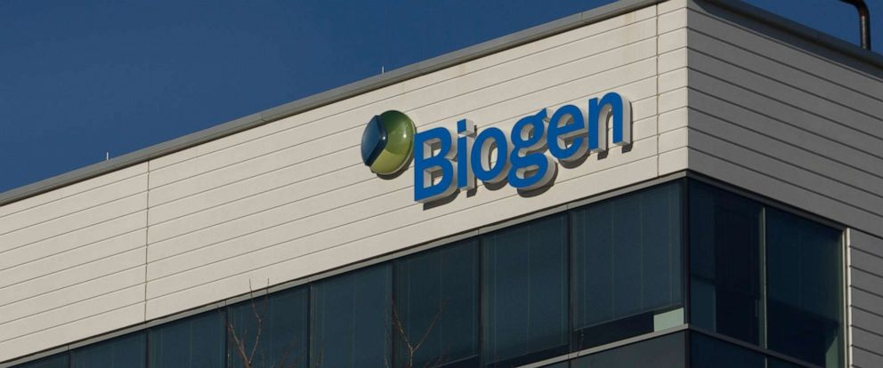 PHOTO: A sign for biotechnology company, Biogen is seen on a building in Cambridge, Mass., on March 18, 2017.