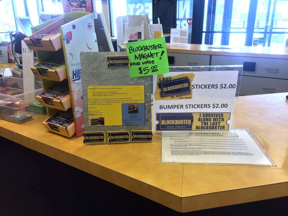 PHOTO: The checkout desk with stickers for sale at the last Blockbuster store in Bend, Oregon.