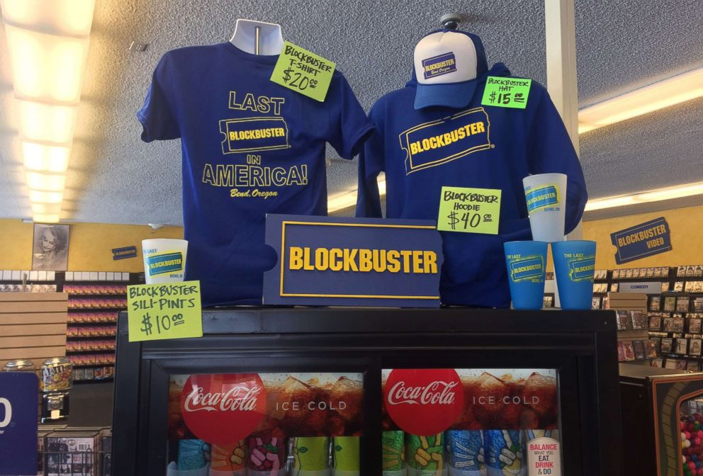 PHOTO: T-shirts, cups and hats for sale at the last Blockbuster store in Bend, Oregon.