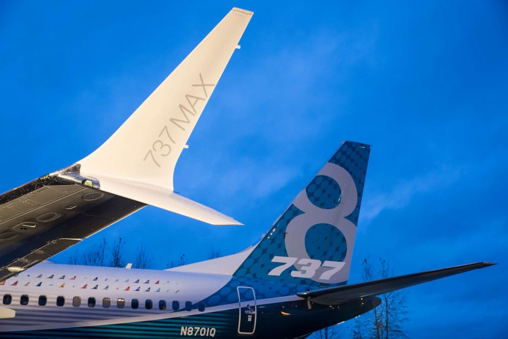 PHOTO: A winglet on the first Boeing 737 MAX airliner is pictured at the companys manufacturing plant, on December 8, 2015, in Renton, Washington.