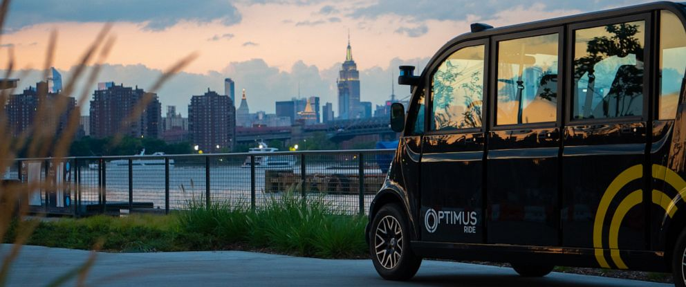 PHOTO: Optimus Ride driverless cars were launched at the Brooklyn Navy Yards in New York City.