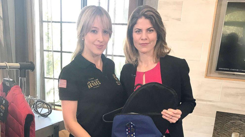 Carolina Ballesteros shows Gloria Riviera the bulletproof backpack from MC Armor.
