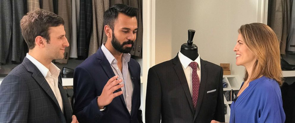PHOTO: Aspetto Inc. CEO Abbas Haider and COO Robert Davis discuss their high end custom bulletproof suits.