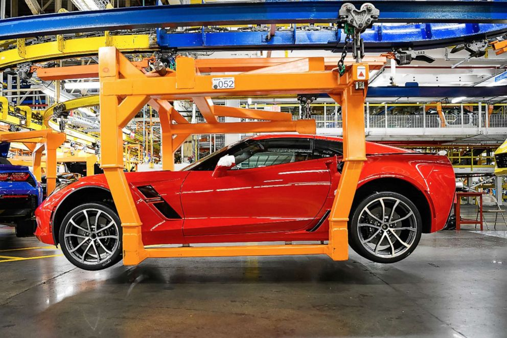 PHOTO: A C7 Corvette on the assembly line at the plant in Bowling Green, Kentucky.