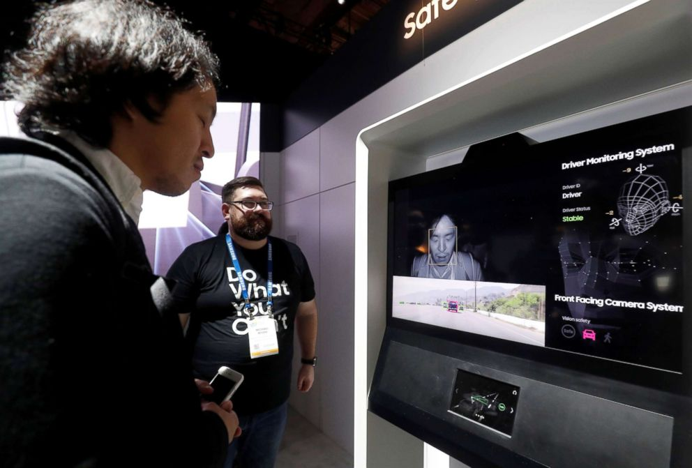 An attendee tries out Driver Monitoring System, a collaboration between Samsung Electronics and Harman, during the 2019 CES in Las Vegas, Jan. 9, 2019.