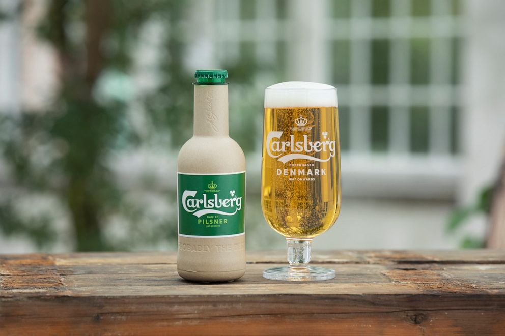 PHOTO: Carlsberg unveiled paper bottle for beer at a the C40 World Mayors Summit in Copenhagen, Denmark.