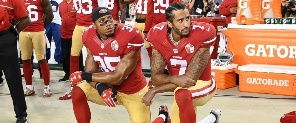 PHOTO: Colin Kaepernick and Eric Reid of the San Francisco 49ers kneel in protest during the national anthem prior to playing the Los Angeles Rams in their NFL game at Levis Stadium on Sept. 12, 2016 in Santa Clara, Calif.