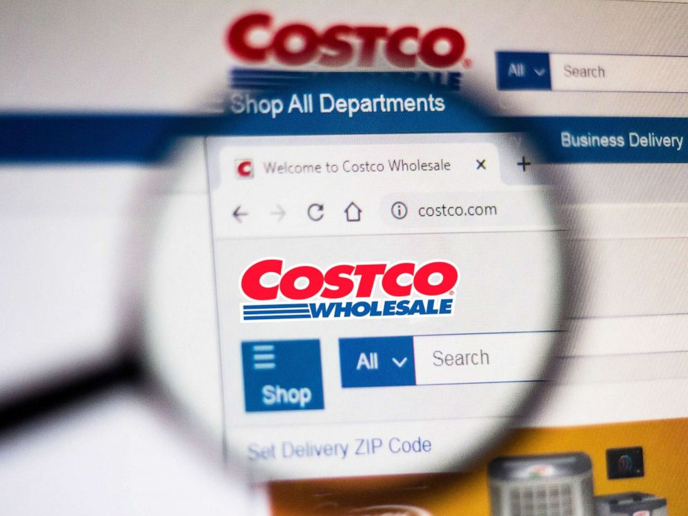 PHOTO: In this photo illustration the homepage of the Costco Wholesale Corporation website is seen displayed on a computer screen through a magnifying glass on Nov. 5, 2019.