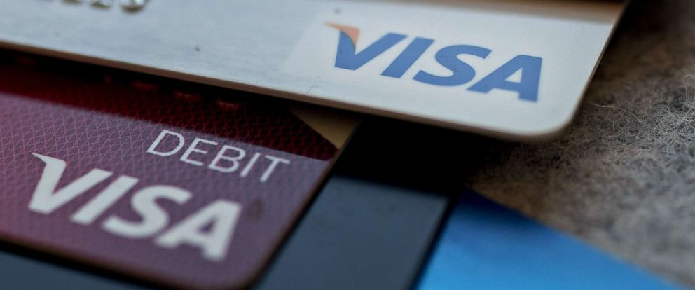 PHOTO: Visa Inc. debit and credit cards are arranged in Washington, Oct. 20, 2017.
