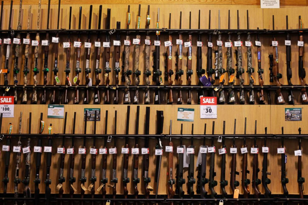 PHOTO: Guns sit on display at a Dicks Sporting Goods store in Paramus, N.J., March 6, 2012.