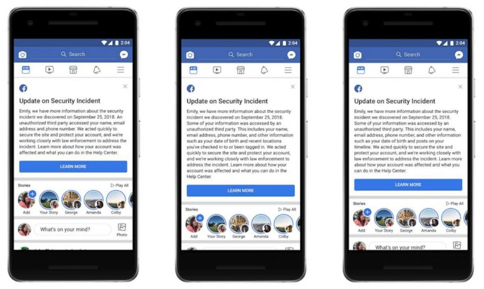 People can check whether they were affected by visiting Facebook's Help Center. Facebook has sent customized messages that people will see depending on how they were impacted.