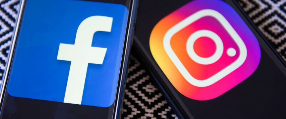 PHOTO: Facebook and Instagram logos on cellphones.
