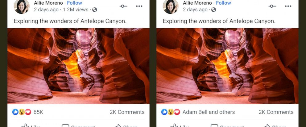 PHOTO: Facebook is testing removing public visibility to like, reaction, and video view counts from organic posts (friends, family, pages, etc.) and ads. At left is a post showing likes and right, is the same post with the data hidden.