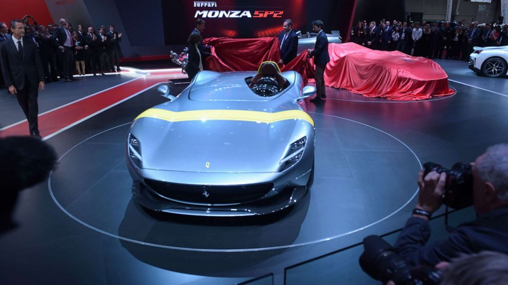 PHOTO: The unveiling of the Ferrari Monza SP1 at the Paris Motor Show, Oct. 2, 2018.