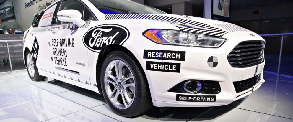 PHOTO: A Ford Motor Co. Fusion set-up as an experimental self-driving delivery vehicle sits on display during the 2018 North American International Auto Show (NAIAS) in Detroit, Jan. 15, 2018.