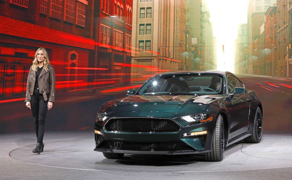 PHOTO: Molly McQueen, the granddaughter of actor Steve McQueen, introduces the 2018 Ford Mustang Bullitt at the North American International Auto Show, Jan. 14, 2018, in Detroit.