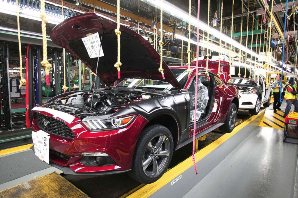 PHOTO: In this file photo, all new 2015 Ford Mustangs go through the assembly line at the Ford Flat Rock Assembly Plant, Aug. 28, 2014, in Flat Rock, Mich.