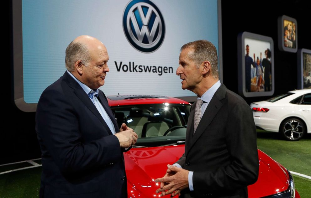 PHOTO: Ford Motor Co. President and CEO, Jim Hackett, left, meets with Dr. Herbert Diess, CEO of Volkswagen AG, Jan. 14, 2019, at the North American International Auto Show in Detroit.