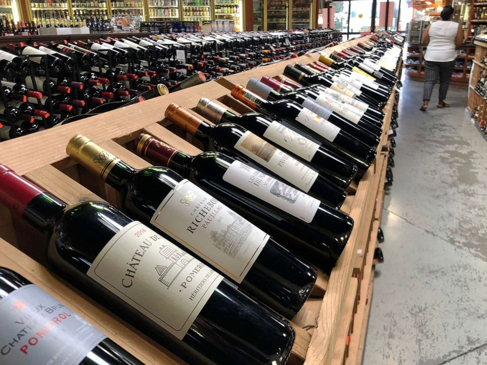 PHOTO: Bottles of French wine are displayed for sale in a liquor store on Oct. 3, 2019 in Los Angeles.