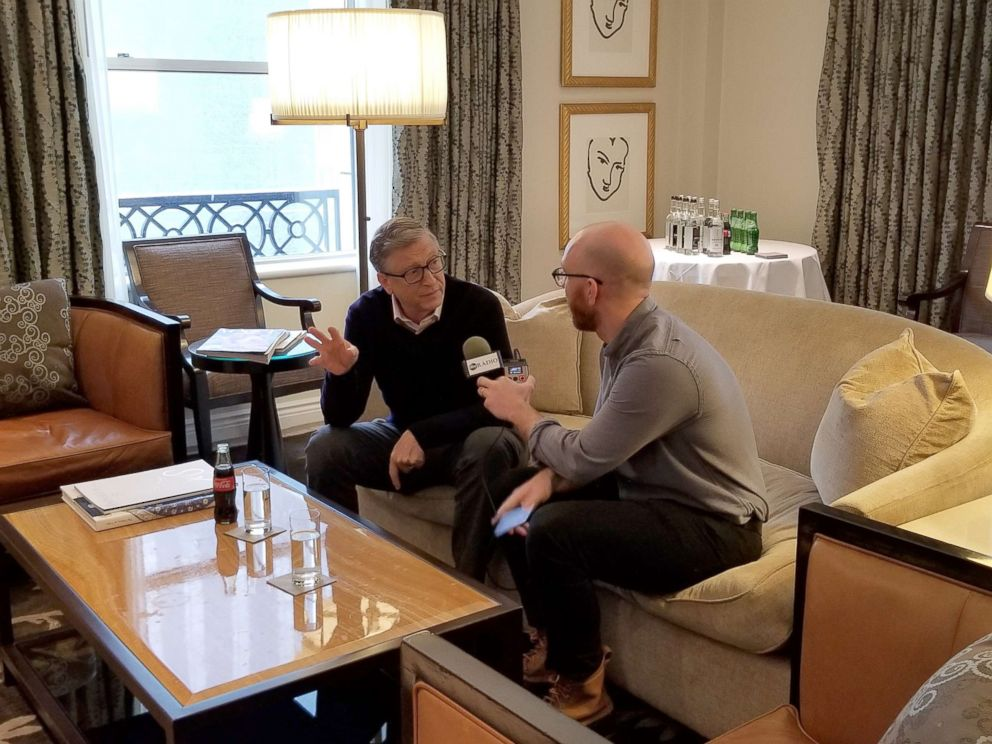 PHOTO: Bill Gates is interviewed by ABC News Brad Mielke, Feb. 12, 2019.