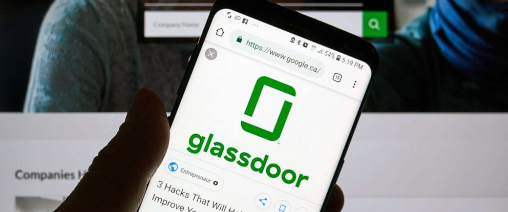 PHOTO: Glassdoor app and logo is seen here in this Dec. 23, 2018 file photo in Montreal.