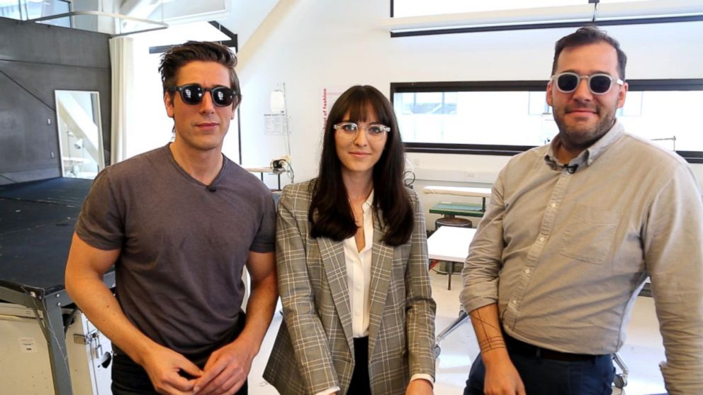 photo david muir tries on genusee glasses with owners ali rose vanoverbeke and jack burns