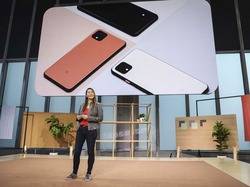 PHOTO: Sabrina Ellis, Google vice president of product management, introduces the new Google Pixel 4 smartphone during a Google launch event, Oct. 15, 2019, in New York.