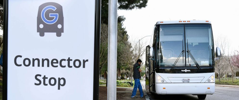 PHOTO: A Google Inc. campus bus picks up a passenger near the entrance to the Googleplex headquarters in Mountain View, Calif., Feb. 18, 2016.