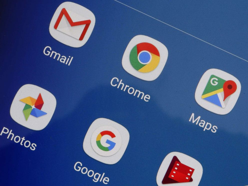 PHOTO: Gmail, Chrome, Google Maps, YouTube, Google photos and Google are displayed on the screen of a tablet, Oct. 23, 2018, in Paris, France.