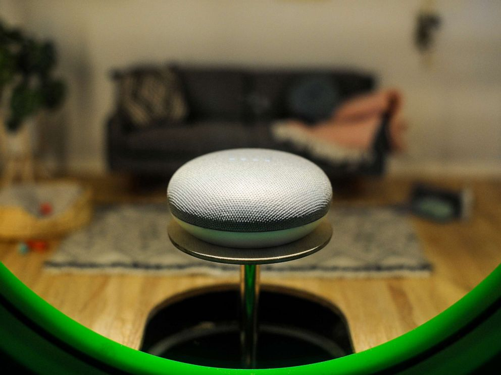 PHOTO: Google Home mini assistant, exhibited during the Mobile World Congress, Feb. 27, 2019, in Barcelona, Spain.