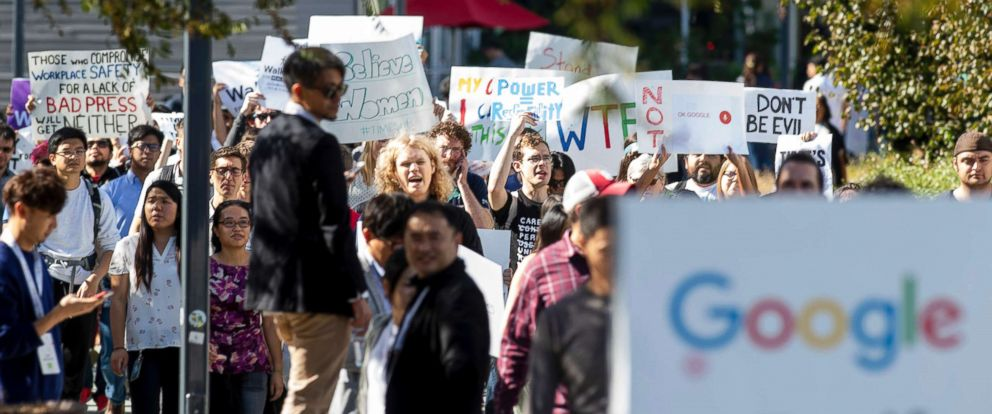PHOTO: Workers protest against Googles handling of sexual misconduct allegations at the companys Mountain View, Calif. headquarters, Nov. 1, 2018.