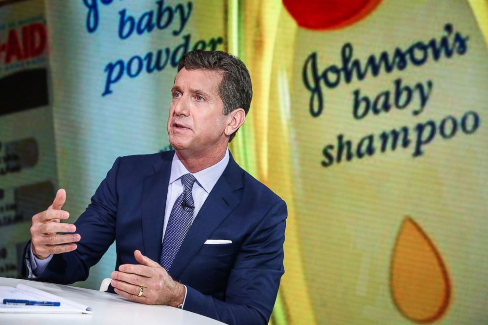 PHOTO: Alex Gorsky, chairman and chief executive officer at Johnson & Johnson, speaks during a Bloomberg Television interview in New York, June 26, 2017.