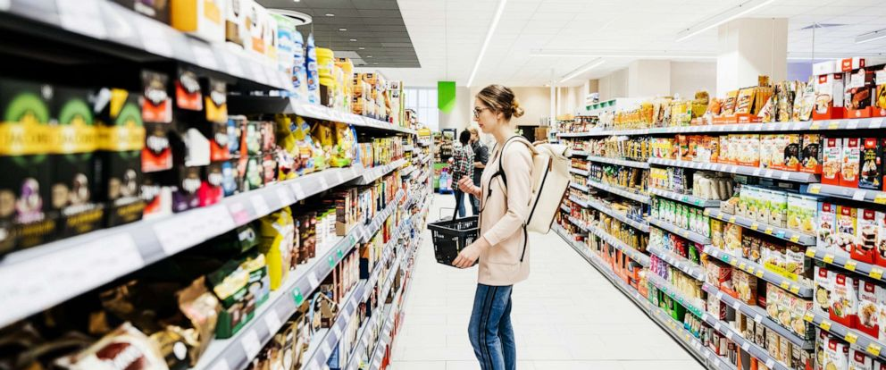 PHOTO: This undated file photo shows a supermarket aisle with people shopping for groceries.