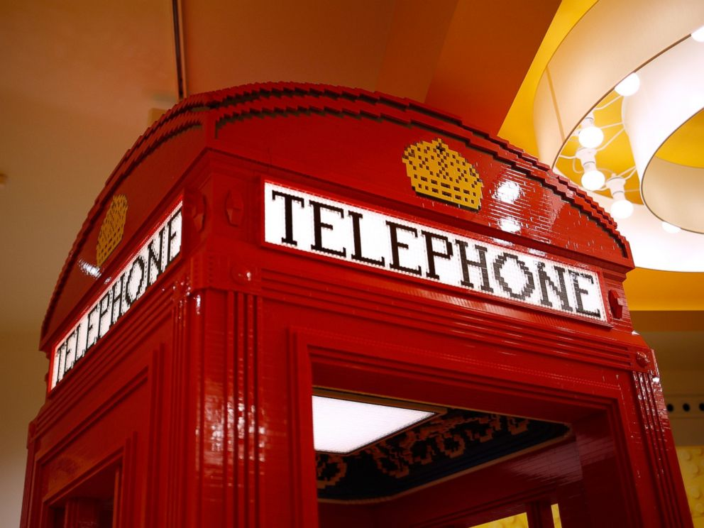 PHOTO: A life-size Lego replica of a British telephone booth at the new flagship Lego store in Leicester Square in London, Nov. 16, 2016.