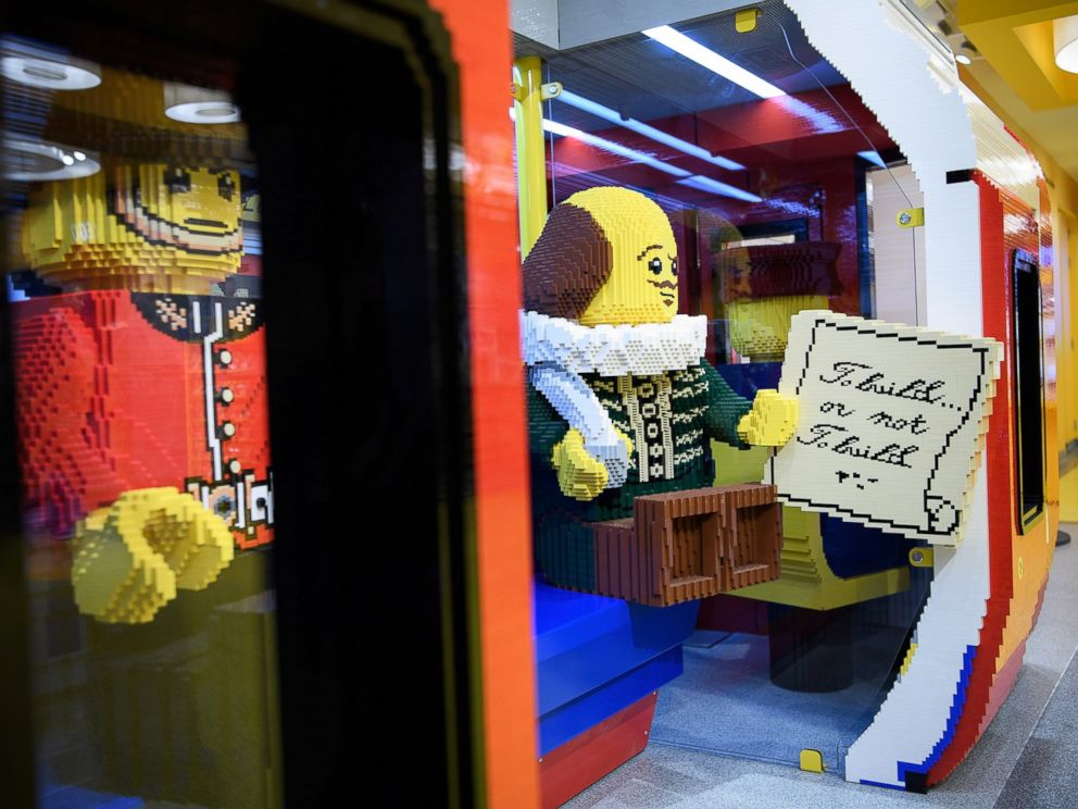 PHOTO: A lego model of playwright William Shakespeare is placed inside a large-scale model of a London underground train car, at the new flagship Lego store on Nov. 16, 2016 in London.