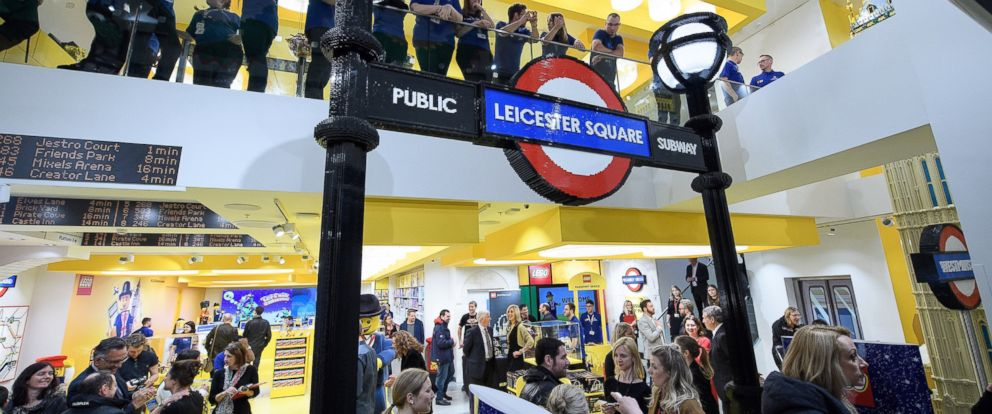 PHOTO: Guests view the new flagship Lego store during an opening event on Nov. 16, 2016 in London.