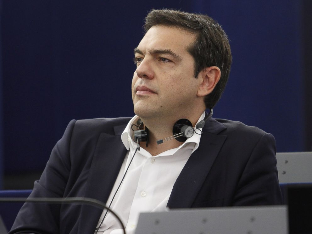 PHOTO: Greek Prime Minister Alexis Tsipras listens in the plenary hall at the European Parliament on July 8, 2015 in Strasbourg, France.