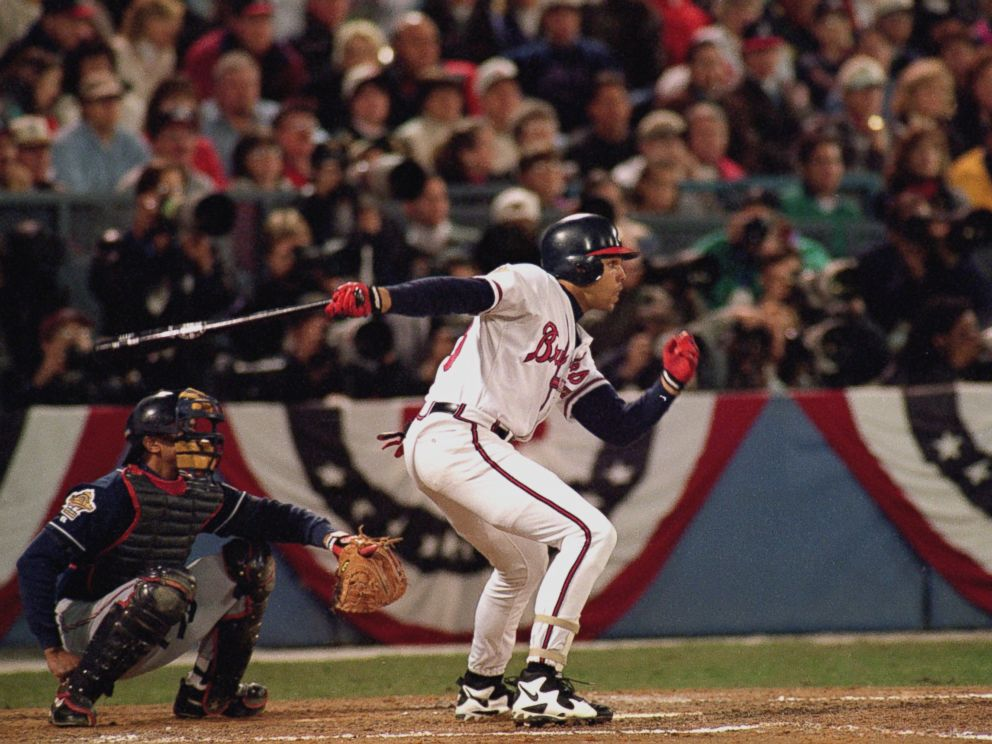 PHOTO: David Justice of the Atlanta Braves swings at a pitch during Game six of the 1995 World Series against the Cleveland Indians on October 28, 1995 in Atlanta.