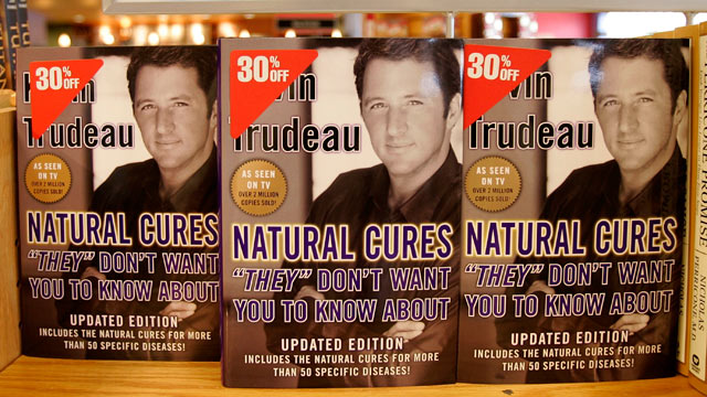 "PHOTO: The best-selling book ""Natural Cures"" by Kevin Trudeau stands on display at a Borders bookstore, Washington, DC, Aug. 22, 2005."