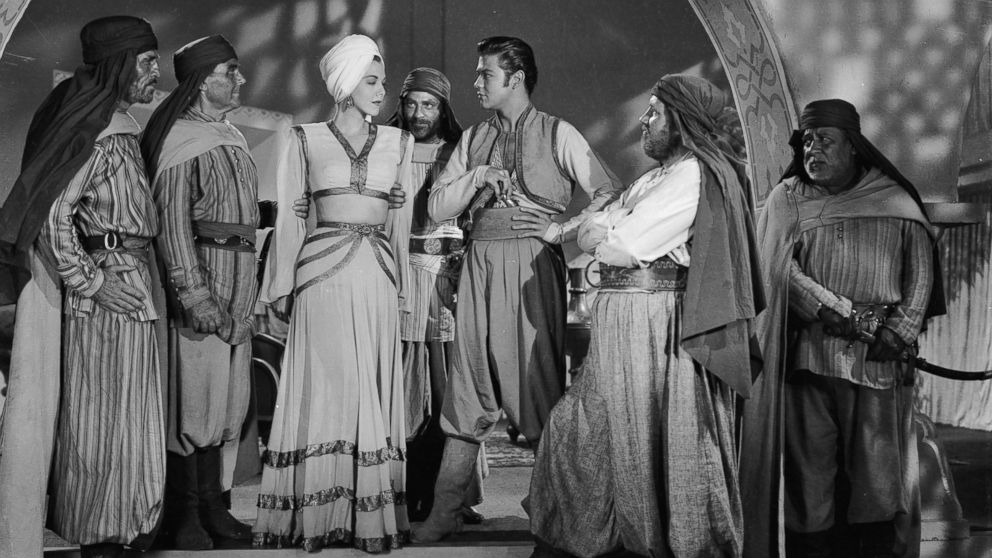 "Turhan Bey stars with Maria Montez in ""Ali Baba and the Forty Thieves"" directed by Arthur Lubin in 1944."