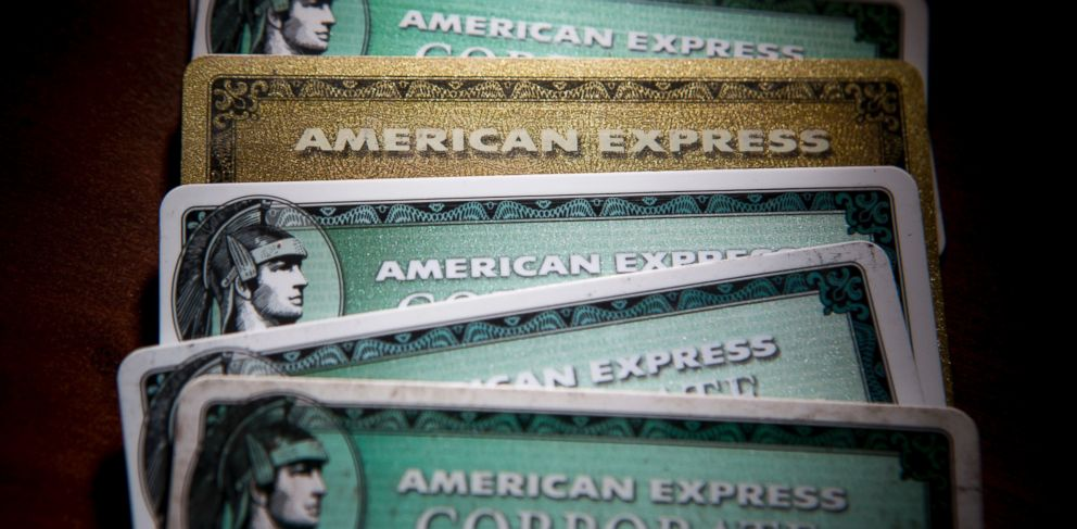PHOTO: American Express Co. credit cards are arranged for a photograph in New York, U.S., April 15, 2013.