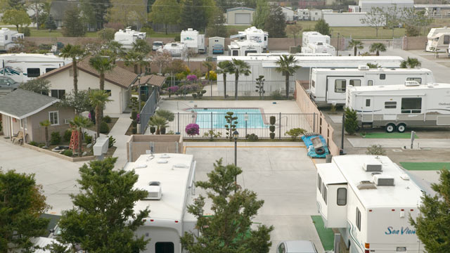 PHOTO: An overview of trailers parked in a trailer camp outside of Bakersfield, CA.