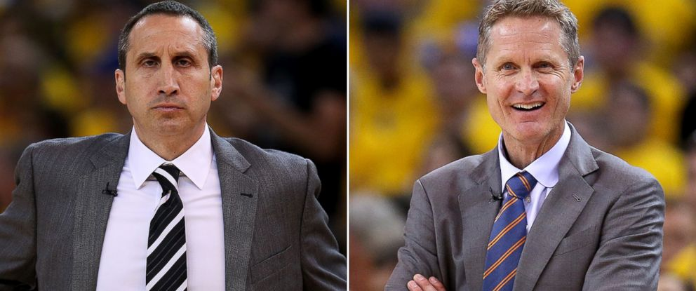 PHOTO: Steve Kerr, left, of the Golden State Warriors on May 27, 2015 and head coach David Blatt of the Cleveland Cavaliers on June 7, 2015 in Oakland, California.