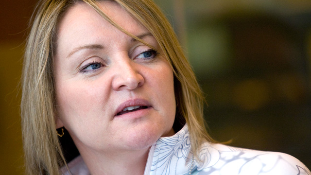 PHOTO: Christine Day, chief executive officer of Lululemon Athletica Inc. LLC, speaks during an editorial board meeting in New York, April 2, 2009.
