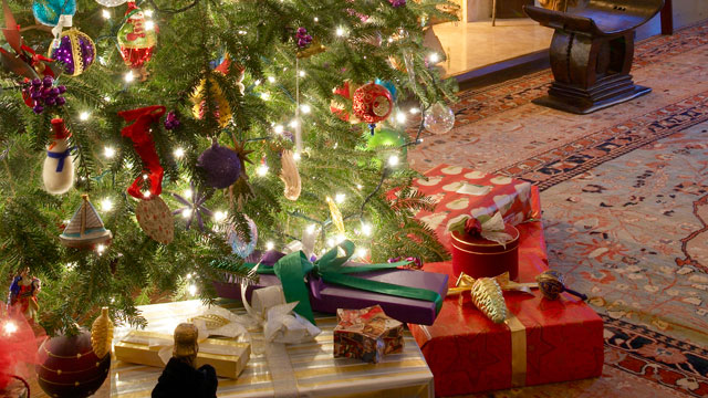 photo christmas presents are seen under a tree