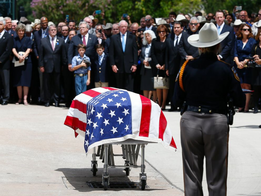 PHOTO: Harris County Sheriffs Deputy Darren Goforths casket is seen following his funeral at Second Baptist Church on Sept. 4, 2015, in Houston, Texas.