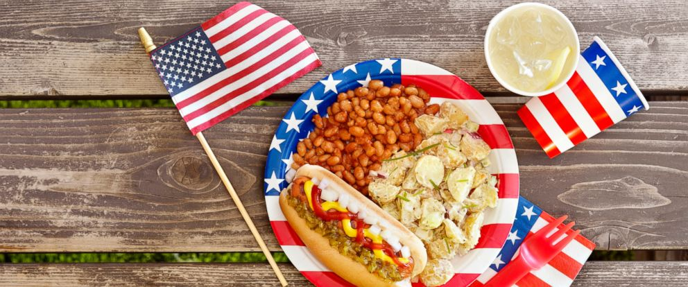 PHOTO: A patriotic picnic place setting and American flag are seen in this undated stock photo.