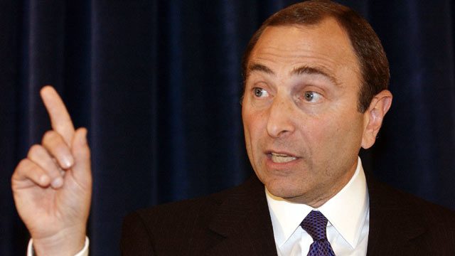 PHOTO: Gary Bettman, National Hockey League Commissioner speaks during a press conference Sept. 15, 2004 in New York City.